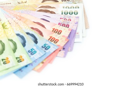 Thailand's currency, Various of Thai money banknotes isolated on white background use for financial, business and saving money concept.
