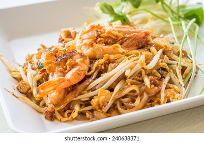 Thailand's national dishes, stir-fried noodles with egg, vegetable and shrimp (Pad Thai)