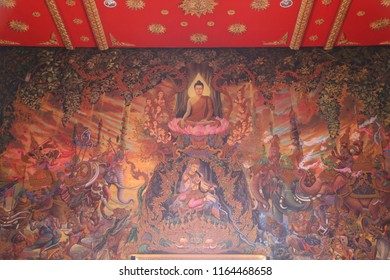 thaistyle painting wall in thai temple