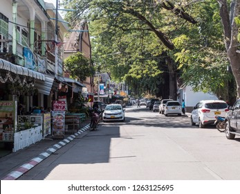 Thakhaek, Laos - February 12, 2018: A street in the small town of Thakhaek, in the south of Laos.
