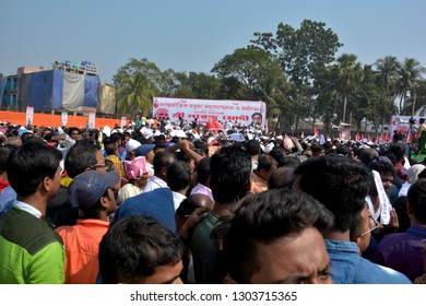 Thakurnagar, West Bengal, India, February, 02, 2019, The crowd and stage of the People in  the rally of  Prime Minister Narendra Modi