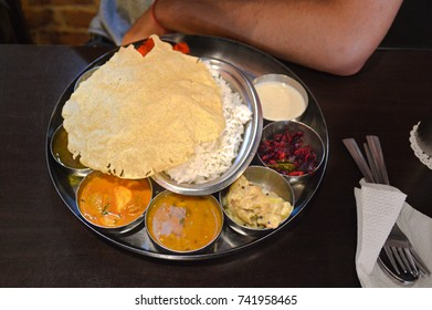 Thali set. A popular dish from Nepal, India and Bangladesh
