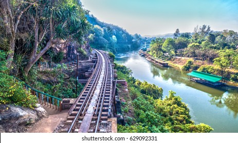 Tham Krasae railway landmark of Kanchanaburi. the whole world knows Death Railway Bridge in wold war two.During World War Two Japan constructed railway from Thailand to Burma