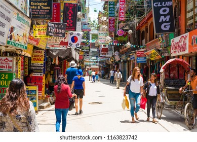 Thamel, Kathmandu, Nepal - July 15, 2018 : Street view in Thamel district, known as the centre of the tourist industry in Kathmandu has a wide range of mountaineering gear shops, bars and restaurants