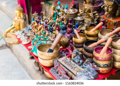 Thamel, Kathmandu, Nepal - July 15, 2018 : Souvenirs in Thamel district, known as the centre of the tourist industry in Kathmandu has a wide range of mountaineering gear shops, bars and restaurants