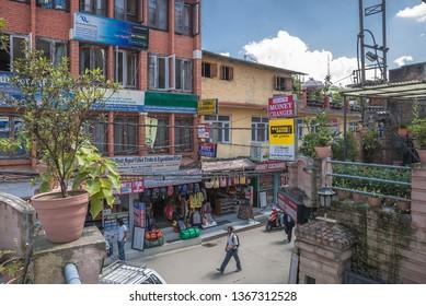 Thamel, Kathmandu, Nepal - October 19, 2008: The bustling commercial neighborhood in Kathmandu, hottest-spot of the tourist industry in Kathmandu valley, crowded with shops, restaurants & vendors