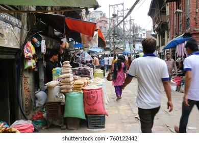THAMEL, KATHMANDU NEPAL - SEPT 29, 2017 : Busiest open market called Asan tol, is a marketplace located in Thamel street, Kathmandu