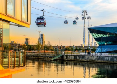 Thames Cable car at Royal Victoria Dock in London at sunset