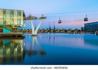 Thames Cable Car at sunset in London
