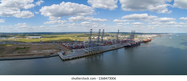 Thames estuary, Essex, United Kingdom 18th June 2018:-  View of Gateway Port a large container port on the Thames with ships unloading - Image