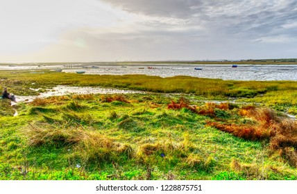 Thames Estuary at south Benfleet looking at Canvey Island, Essex, at low tide