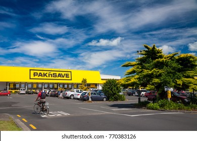 Thames, New Zealand - February 3, 2010: Cars at Pak'n Save supermarket parking lot. Pak'n Save is a New Zealand discount supermarket chain founded in 1985.
