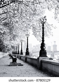 Thames river bank in London