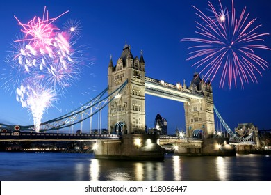 Thames River Night View with fireworks over Tower Bridge