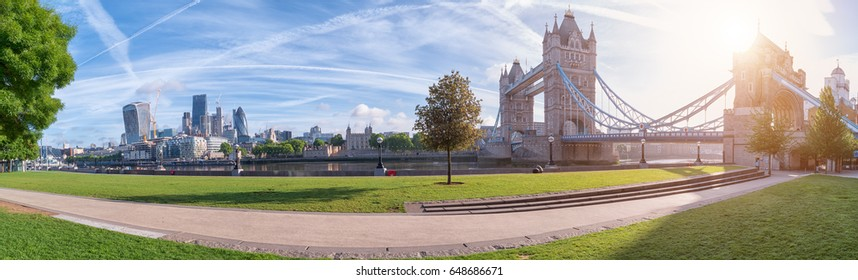 Thames riverside panorama with Tower Bridge