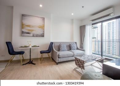 Thana Astoria-New York Art Deco Inspired-Bangkok: 3 January 2019, the atmosphere in the condo, living room decoration, in the Charan Sanitwong area 46 Bang Yi Khan, Khet Bang Phlat, Thailand