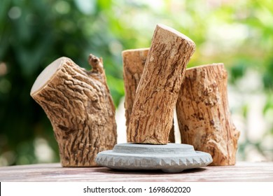 Thanaka or Hesperethusa crenulata, logs on a natural background.