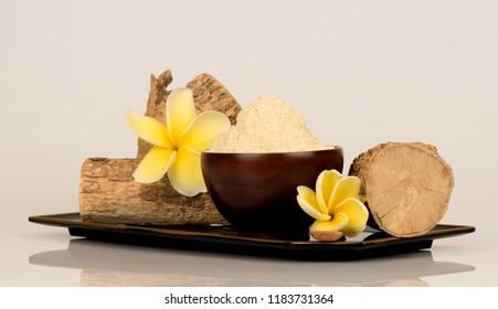 Thanaka or tanaka ,wood  and powder have medicinal properties