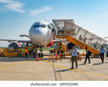 Thanh Hoa, Vietnam - May 16, 2018: Established in 2011, budget airline VietJet Air is now the largest domestic carrier of Vietnam. Here is one of their Airbus A320 at Tho Xuan Airport in Thanh Hoa.