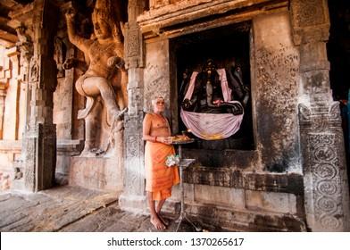 THANJAVUR, INDIA 15 FEBRUARY 2017 : Hindu pilgrims and tourist visiting Brihadeeswarar Temple in Thanjavur, Brihadeeswarar Temple is One of UNESCO World Heritage Site, Tamil Nadu, India.