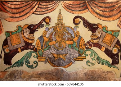 THANJAVUR, INDIA -JUL 31 :Ancient murals of the Chola period found on the walls of the Brihadeeswarar temple on July 31, 2012 in Thanjavur, India. The temple is one of the UNESCO World Heritage Sites