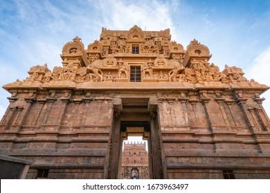 Thanjvur - Big Temple, Entrance arch view of Brihadeeswarar temple, Thanjavur. Tamilnadu