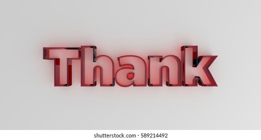 Thank - Red glass text on white background - 3D rendered royalty free stock image.