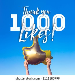 Thank you 1000 like gold thumbs up like balloons social media template banner