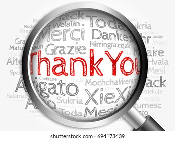 Thank You in all languages Word Cloud with magnifying glass, background concept 3D illustration