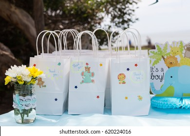 Thank you bags on baby shower. It's a boy