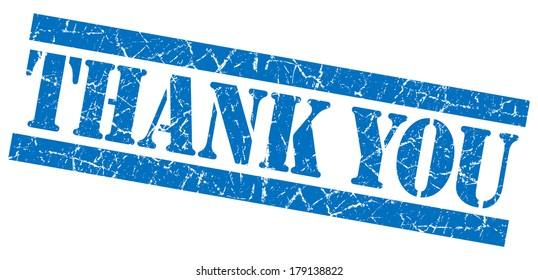 Thank you blue grunge stamp