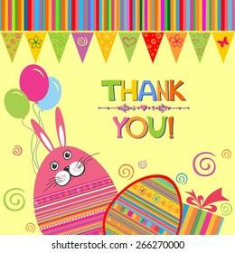 Thank You Card. Easter egg. Vintage card. illustration
