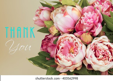 Thank you card with pink Peony flowers. Administrative professional day concept.