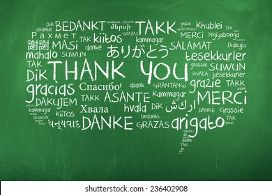 Thank You in Different Languages / Thank You Word Cloud as Speech Bubble