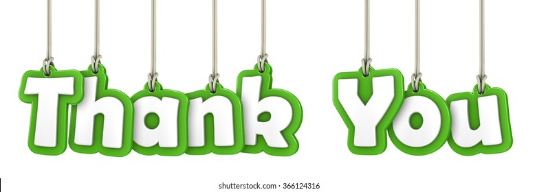 Thank You hanging letters on white background