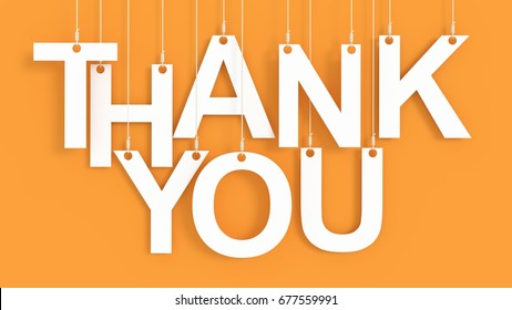 Thank You hanging letters over orange background 3D rendering