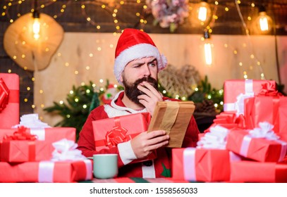 Thank you. happy new year. Xmas gifts. christmas gift delivery. winter shopping sales. Writing wish list. bearded man santa. Greetings to relatives. bearded santa deliver gifts by address.
