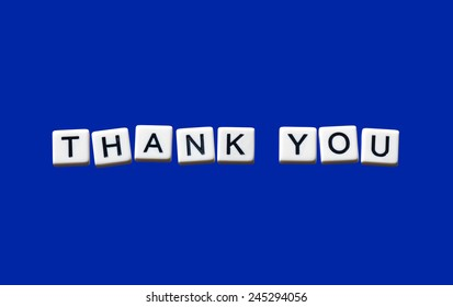 Thank You highlighted on white blocks