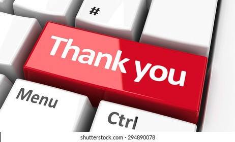 Thank you key on the computer keyboard, three-dimensional rendering