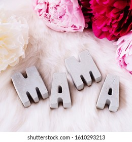 Thank you Mama! Happy mother's day! Concrete letters and soft pink and white peonies