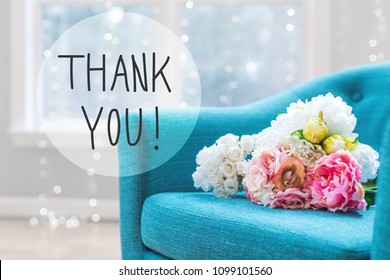 Thank You message with flower bouquets with turquoise chair