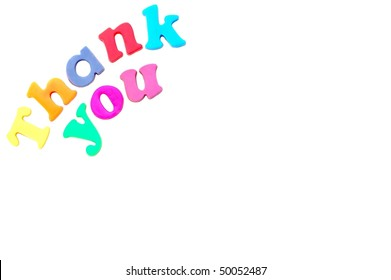 """Thank You"" message in magnetic letters"