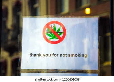 Thank you for not smoking text on white poster. Prohibition sign - No cannabis. Stop Marijuana sign, multi purpose concept on white background