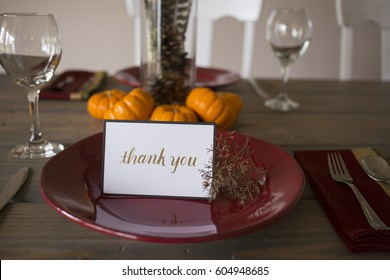 Thank You Note on Thanksgiving Table Setting