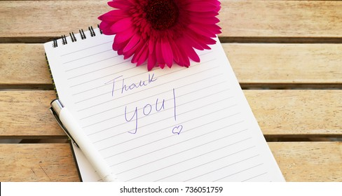thank you note with pink flower