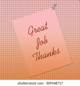 thank you note posted on textured background by thumbtack