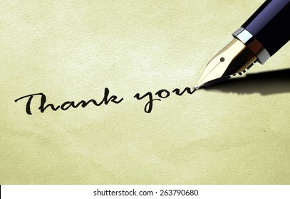 Thank you on old paper texture
