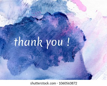 thank you on watercolor background
