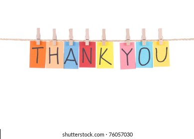 Thank you, paper words card hang by wooden peg