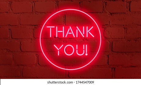 THANK YOU phrase in red neon style on  brick background for your design tempates.